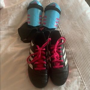 Soccer cleats and shin guards adidas size 1